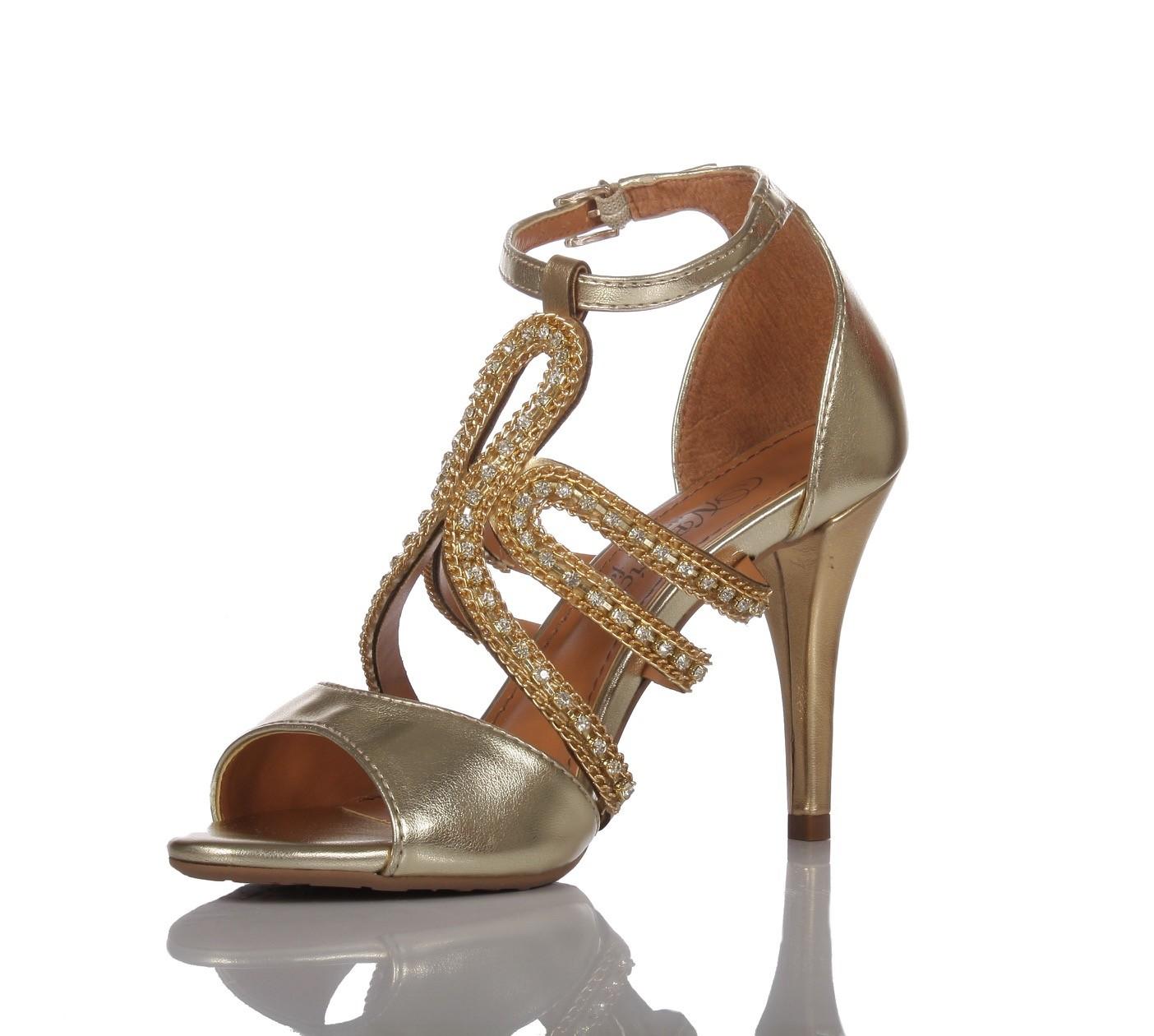 3d3c8b924 Sapato de festa PNF 60 Dourada Strass - Patricia Noivas & Festas