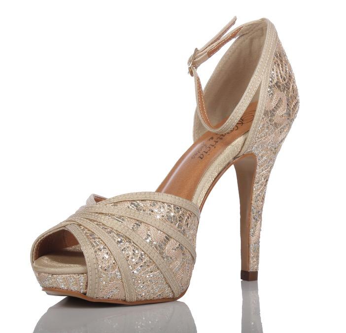 73e434972 Sapato de Festa Peep Toe Nude e Dourado - PNF 25