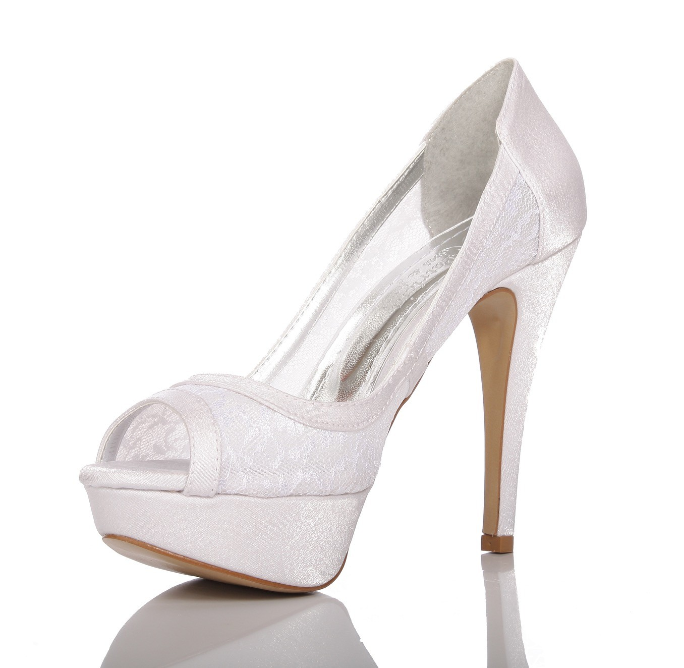 Sapato de Noiva Peep Toe Branco Rendado - PN 46