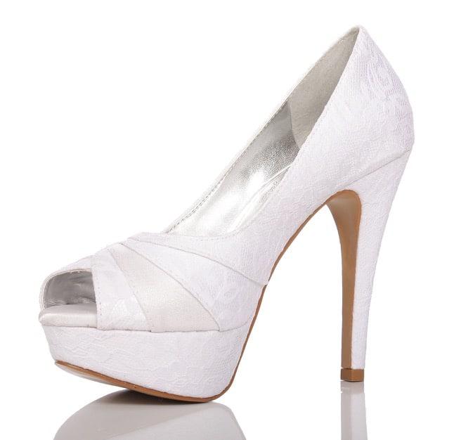 42dfd6008 Sapato de noiva PNF 51 Branco Renda - Patrícia Noivas & Festas