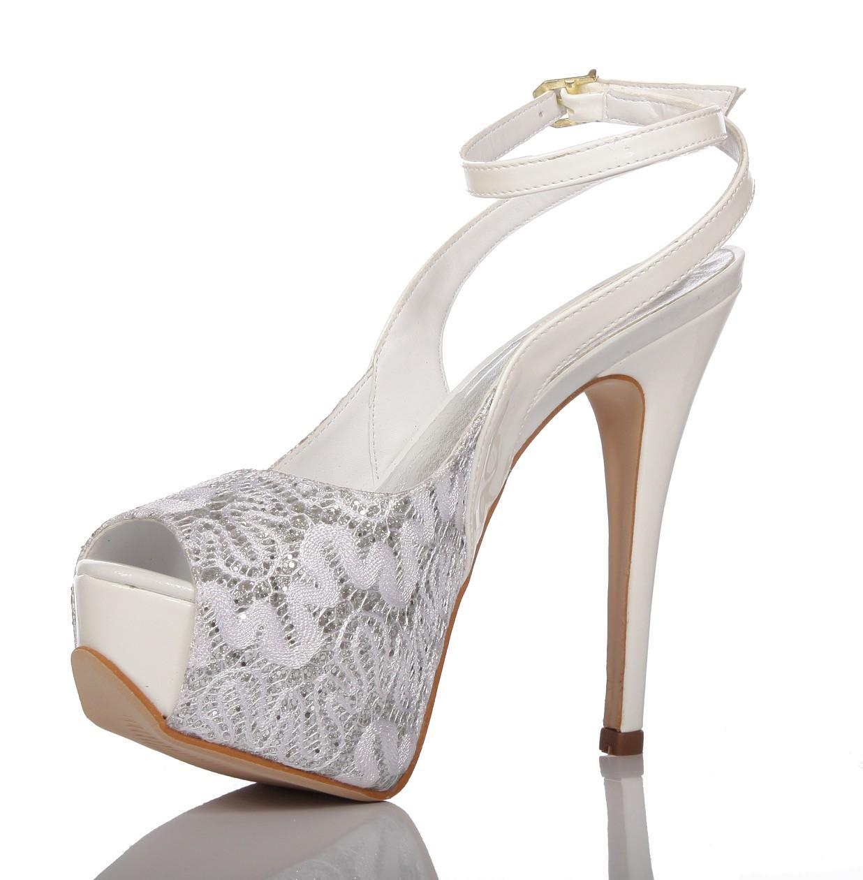 006356f32 Sapato de Noiva Peep Toe Branco com Renda Prata - PNF 16