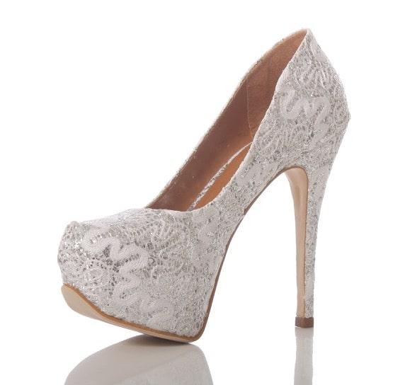 4a68e5a39 Sapato de Noiva Branco e Prata - PNF 68 - Renda Glitter