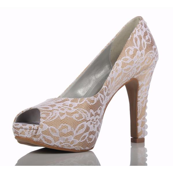 41928631b2 Sapato para Noivas e Festas Nude com Renda - PNF 18